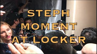 Steph Curry takes a moment at his locker, postgame after 2018 NBA Finals G4 championship