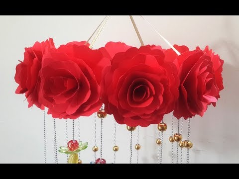 Diy Wind Chime With Beautiful Paper Roses Wall Hanging
