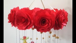 DIY Wind Chime With Beautiful Paper Roses | Wall Hanging for Diwali Decoration | DIY Home Decor