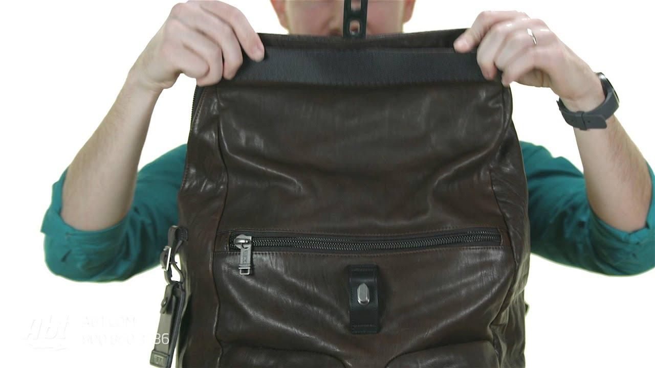 Tumi Alpha Bravo Luke Roll Top Leather Backpack 92388