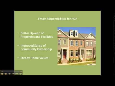3 main responsibilities for HOA