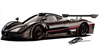 Car Drawing - Pagani Zonda R - Time Lapse