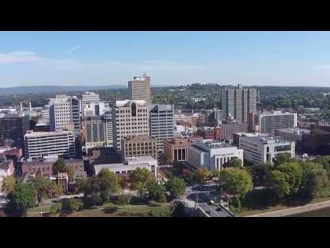 Harrisburg PA, Capital City downtown drone flight over river. DJI Phantom Vision 2 Plus. 1of 2