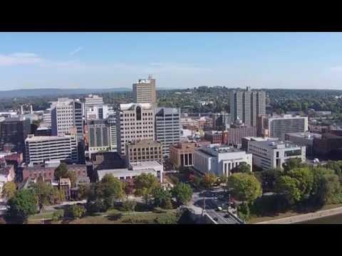 Harrisburg PA, Capital City downtown drone flight over river. DJI Phantom Vision 2 Plus. 1of 2