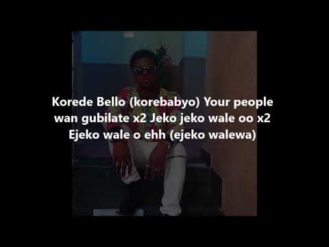 korede Bello ft Lil Kesh-- My People (lyrics)