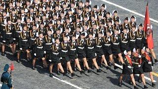 Девочки Кадеты из Московской Кадетской Школы Интерната на Параде Победы 9 Мая 2015