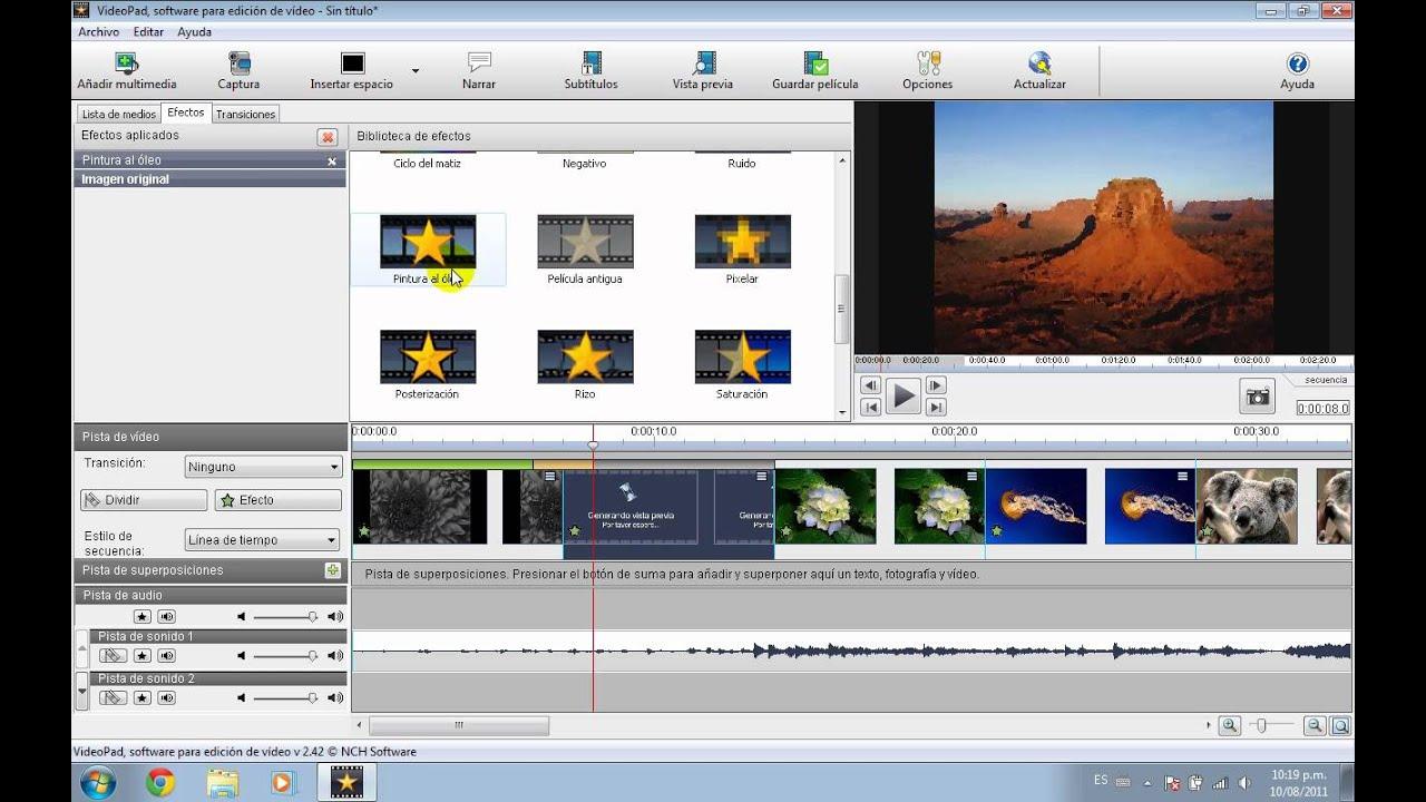 Tutorial VideoPad 03 crear vídeo con imágenes - YouTube