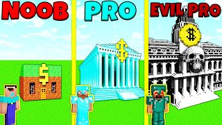 Minecraft Battle: NOOB vs PRO vs EVIL PRO: BANK BUILD CHALLENGE / Animation