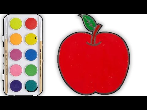 big-apple-coloring-and-drawing-for-kids-|-watercolor-for-kids-|-rainbow-for-kids