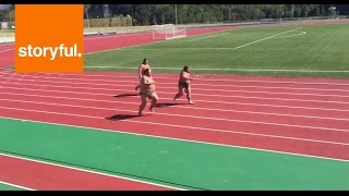 Sumo Wrestlers Sprint Down Race Track (Storyful, Funny)