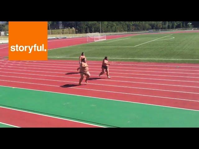 Кој е најбрз: 3 сумо борачи трчаат на 100 метри