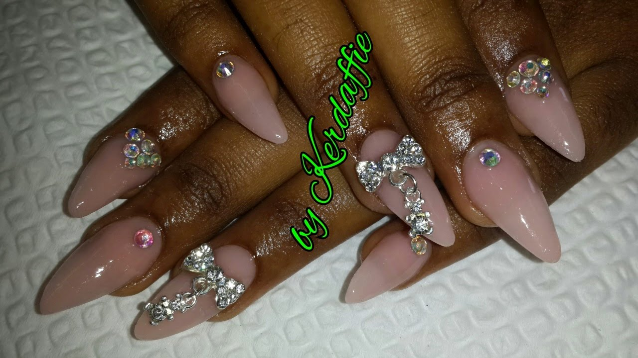 Design Winner Nude Acrylic Nails With Bling Acrylic Nail