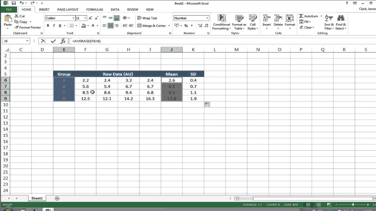 Error bars in graphs using Microsoft Excel for PC v2013 - YouTube