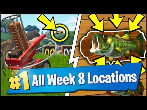 *ALL* Fortnite WEEK 8 CHALLENGE LOCATIONS | FISH THROPHY, CL