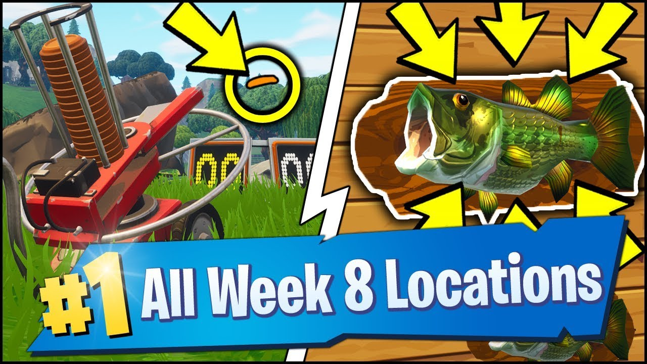 All Fortnite Week 8 Challenge Locations Fish Throphy Clay Pigeon