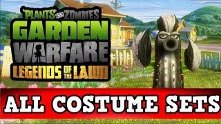 Plants vs Zombies Garden Warfare - ALL COSTUME SETS! Legends Of The Lawn DLC