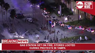 Tear gas deployed from law enforcement as protest in Tampa turns violent