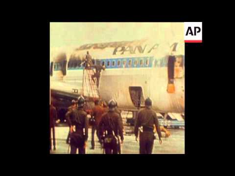 SYND 17 12 73 SCENE AFTER ATTACK BY PALESTINIAN GUERILLAS ON PAN AM PLANE