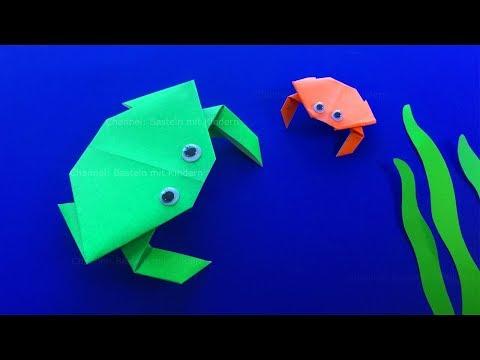 Origami Krabbe basteln mit Kindern - DIY Origami Tiere für Anfänger basteln mit Papier
