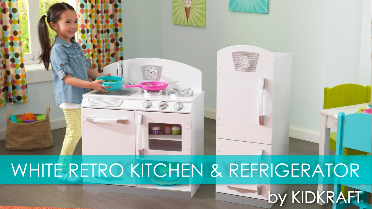 Kidkraft Kitchen White children's white retro play kitchen & refrigerator - toy review