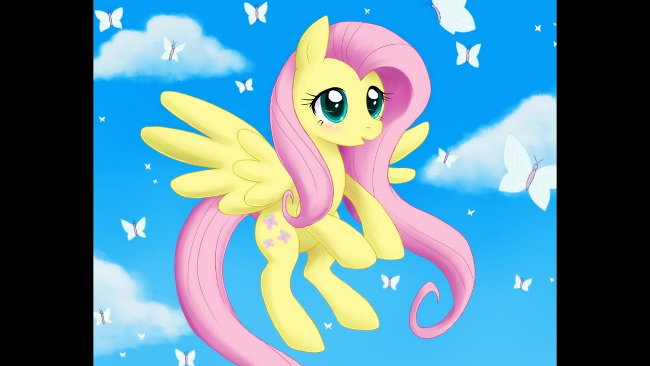 fluttershy flying with butterflies - 830×900
