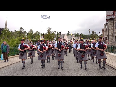 """Scotland the Brave"" by the Isle of Cumbrae Pipe Band as they march out of Braemar, Scotland"