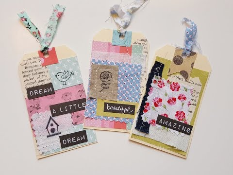 Make 3 tags with scrap paper and fabric pieces. Process video
