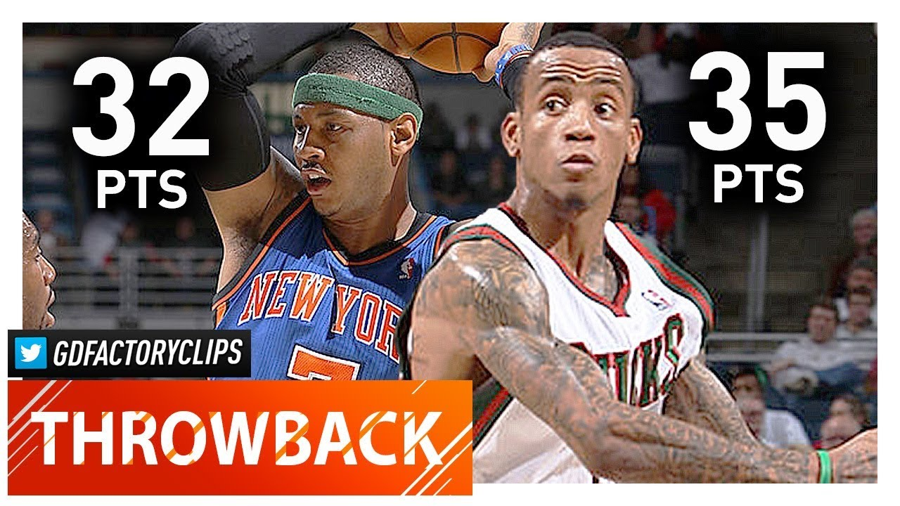 Carmelo Anthony vs Monta Ellis EPIC Duel Highlights (2012 04 11) Bucks vs  Knicks - MUST SEE!
