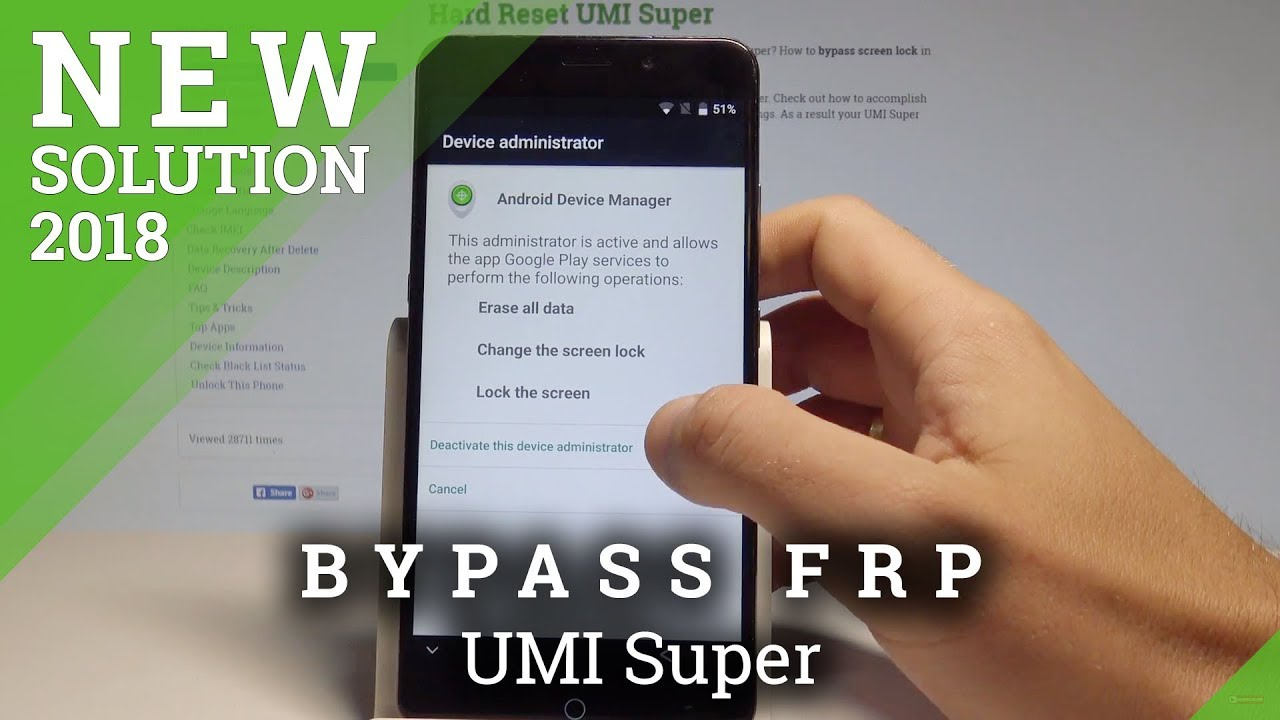 How bypass Google Account protection in UMI Super phone with Android