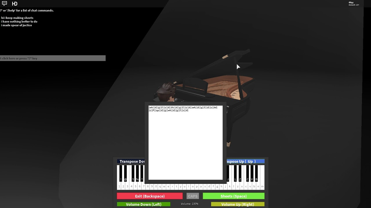 Spear Of Justice Roblox Piano Youtube