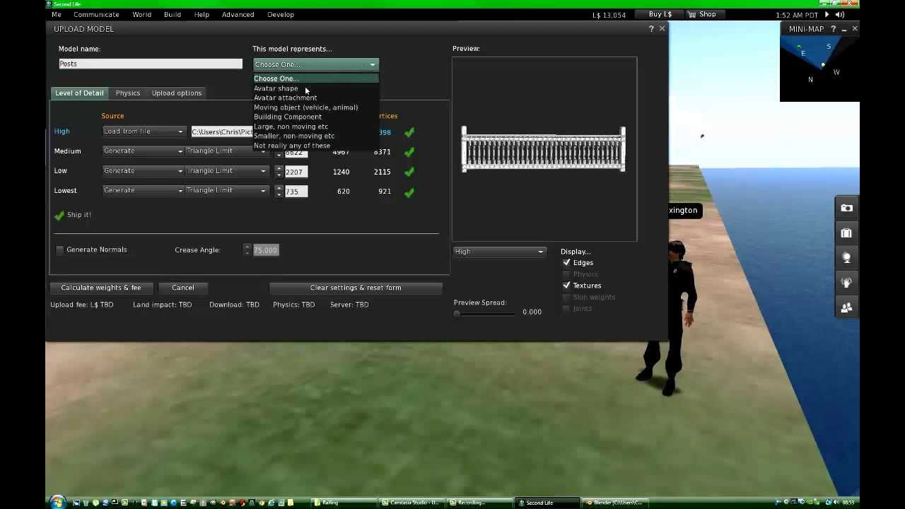 Exporting Mesh From Blender 3-D, Then Uploading It To Second Life (Tutorial)