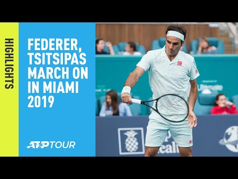 Highlights: Federer, Tsitsipas March On At Miami 2019