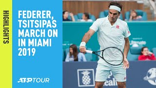 Highlights Federer, Tsitsipas March On At Miami 2019