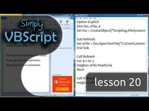 VBScript Basics, Part 20   Read Files (OpenTextFile)