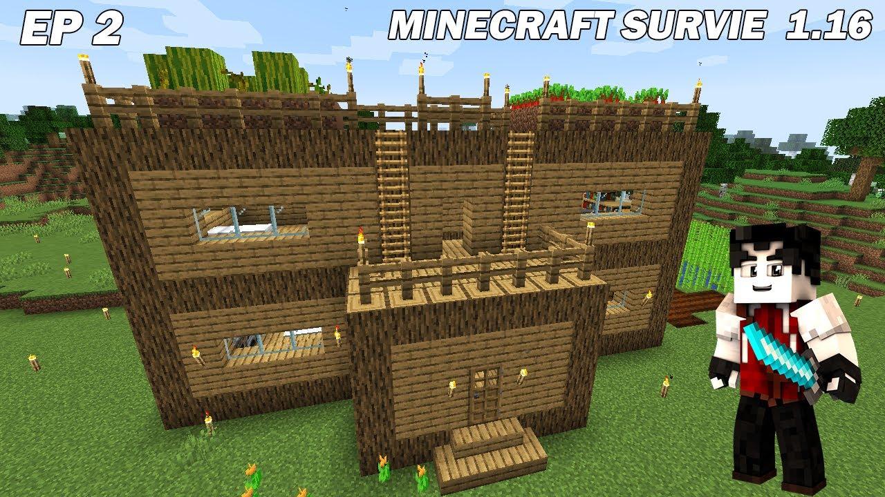Construction D Une Maison De Depart En Bois Sur Minecraft Survie En Live Ep2 Youtube