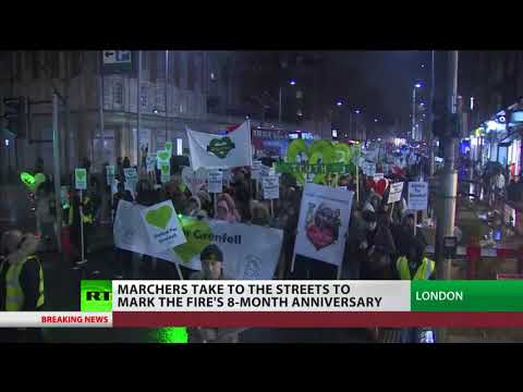 Hundreds hold silent march to mark 8 months since Grenfell Fire