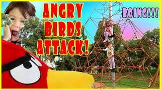 Angry Birds Kids Playing at Kids Playground - Kid Friendly Kids Toys