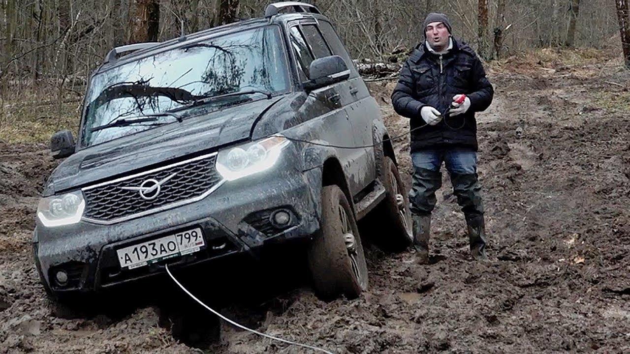 Засадили УАЗ Патриот с заводской лебедкой