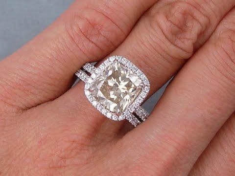 4 37 Ctw Cushion Cut Diamond Engagement Ring And Wedding Band Set