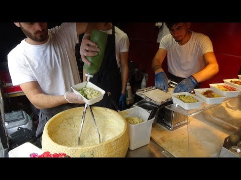 Italian Street Food: Hand Rolled Pasta Fettuccine Alfredo by Cheese Wheel, Camden Lock Market London
