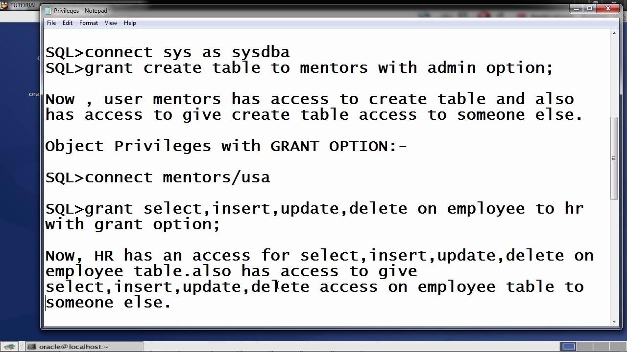 Oracle DB - Privilege