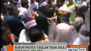 demo buruh pabrik kertas di probolinggo ricuh