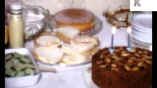 1960s Home Movies Childrens' Birthday Party Food Spread - Ham Sandwiches, Egg, Cake