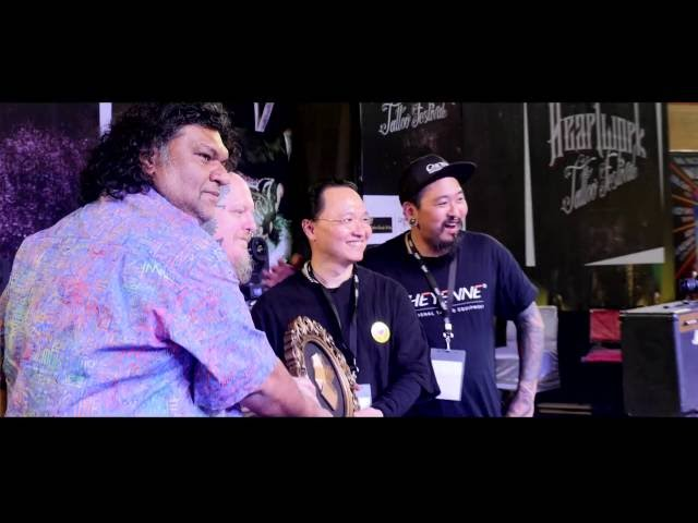 The living legend Anil Gupta at the Heartwork tattoo festival 2015 , New Delhi