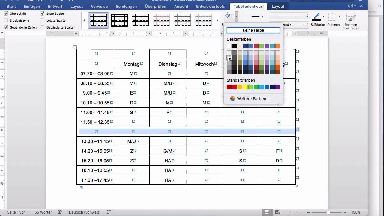 Microsoft Word 2016 Mac 162 Tabelle Formatieren Youtube