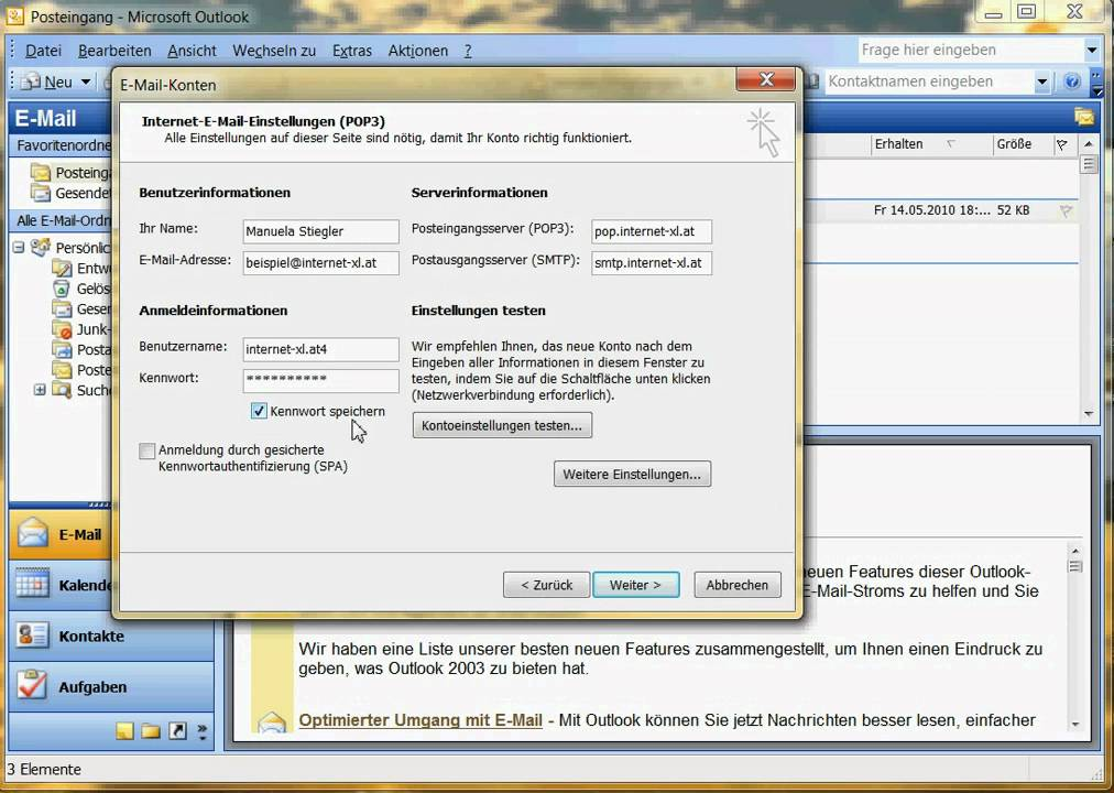 Einrichten Eines E Mail Kontos In Outlook 2003 Youtube
