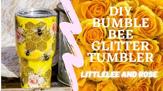 Bumble Bee Honeycomb Glitter Tumbler