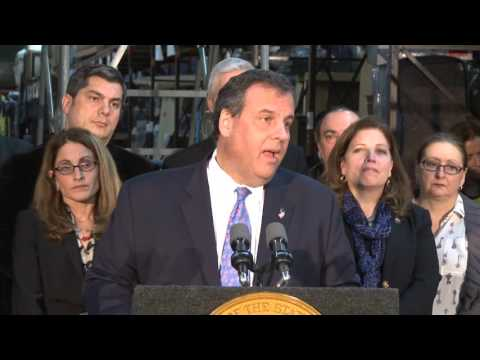 Gov. Christie speaking in Moonachie on Oct. 29.