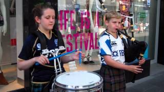 Young Scottish Piper And Drummer Playing Highland Cathedral Perth Perthshire Scotland