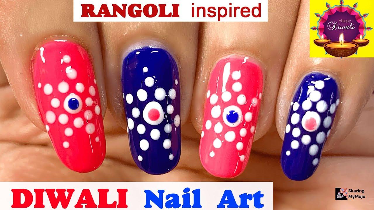 Deepawali 2020 Rangoli Inspired Easy Nail Art Youtube